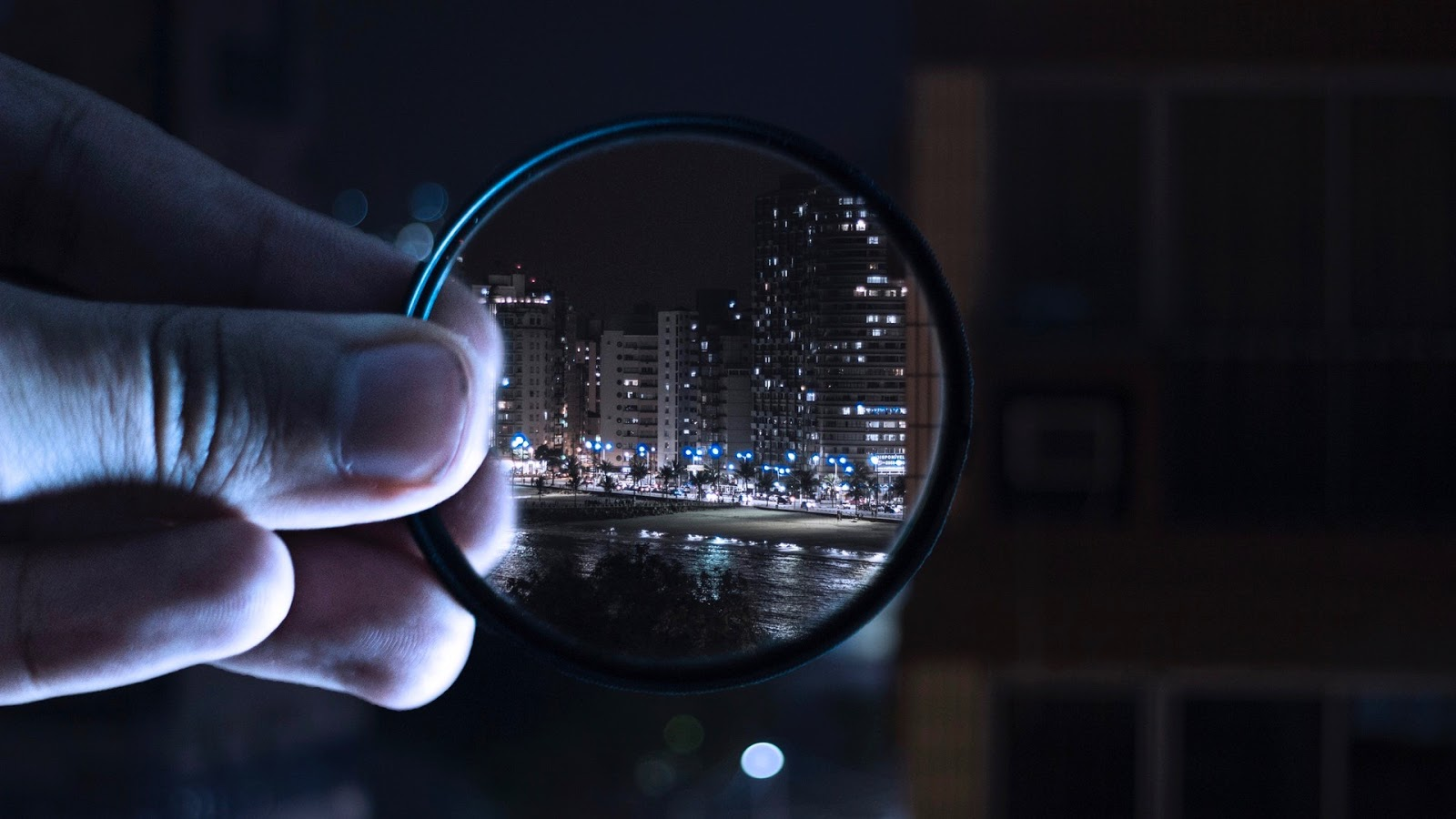 city through a magnifying glass